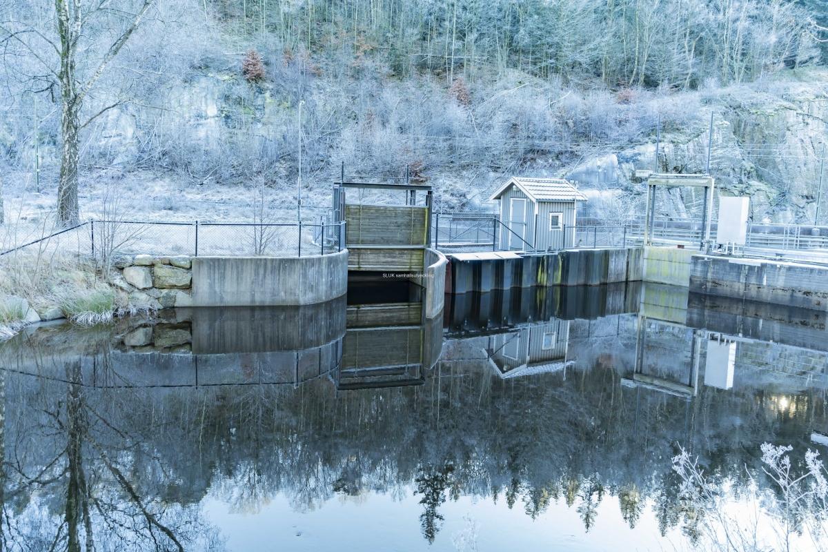 Kraftverkets damm reflekteras i vattnet.