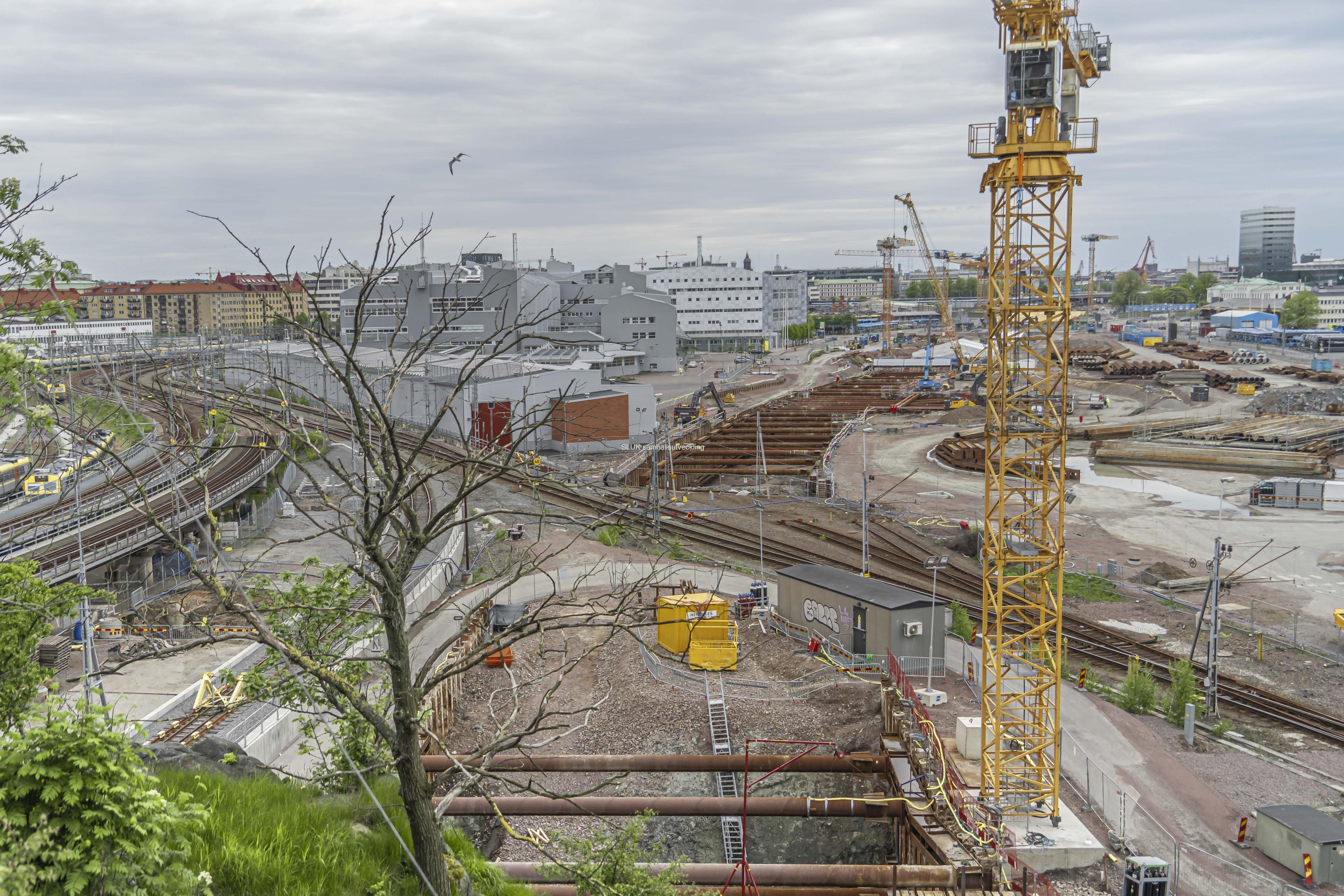 Vy från Skansen Lejonet mot Centralen. Under Skansen Lejonet har man byggt en tunnel från Olskroken mot Centralen.