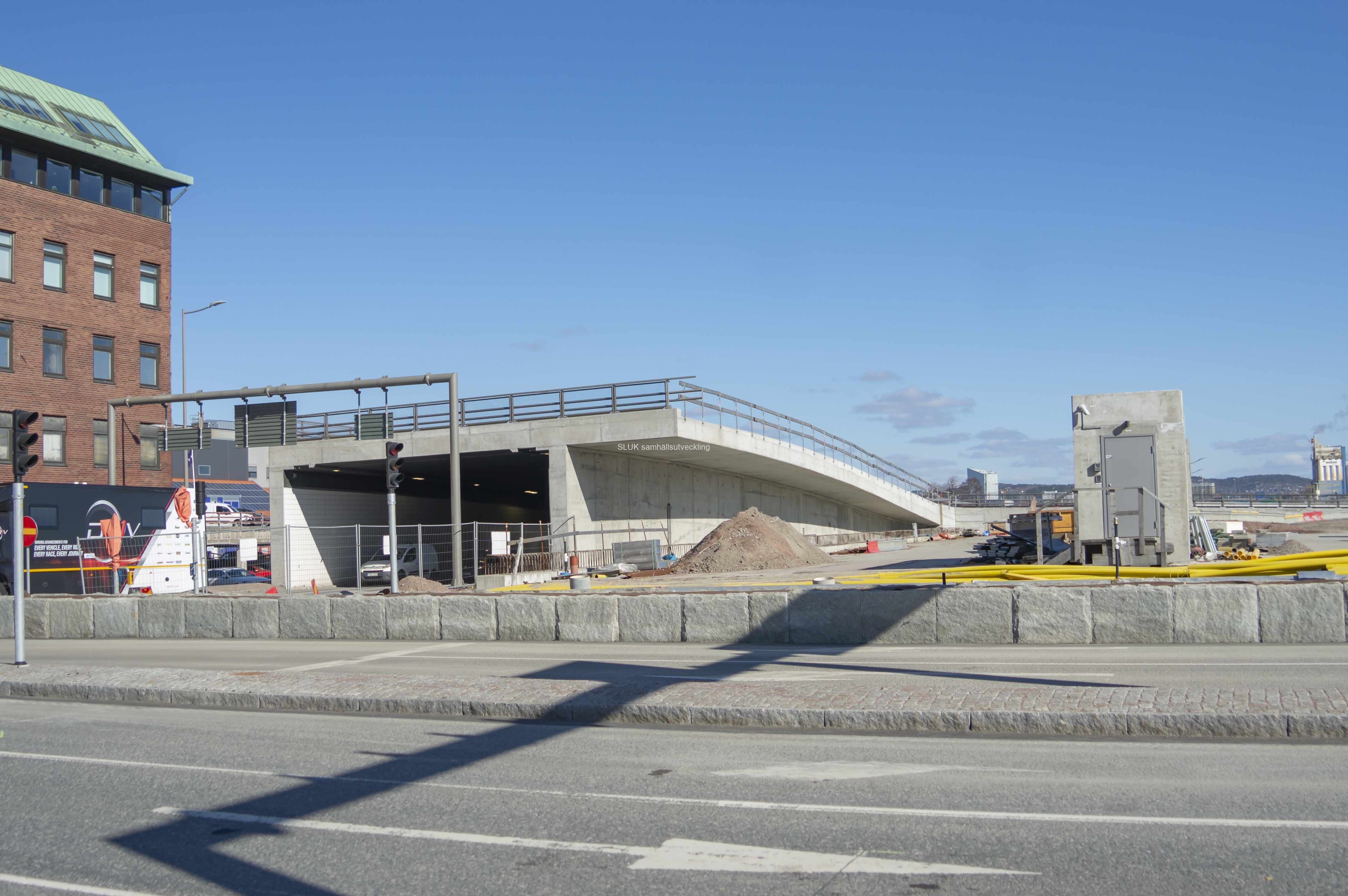 Den norrgående tunneln, här på bilden är bland annat uppfart mot Falutorget.