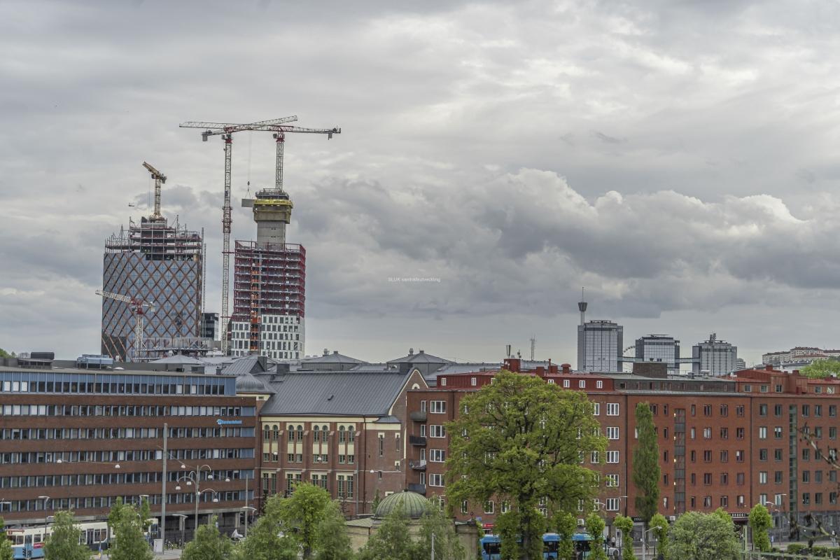 Från skansen Lejonet ser man mot Gårda och bygget av Citygate och Kineum. I bakgrunden som Gothia Tower.