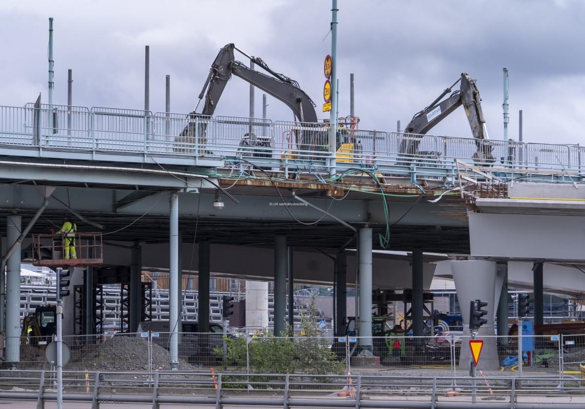 Nu rivs Göaälvbron! Bilden är tagen från Lilla Bommen.