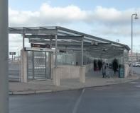 Bussterminal vid Nils Ericson Platsen före rivning, mars 2017