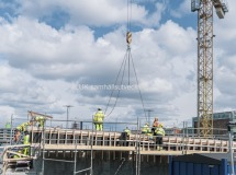 Här pågår arbeten med delen som är såväl är lastgata till Nordstan, Västlänken stationen och Hisingsbron.