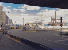 Det här är korsningen Östra Hamngatan och Kanaltorgsgatan. Man kan inte köra vidare mot Kanaltorget