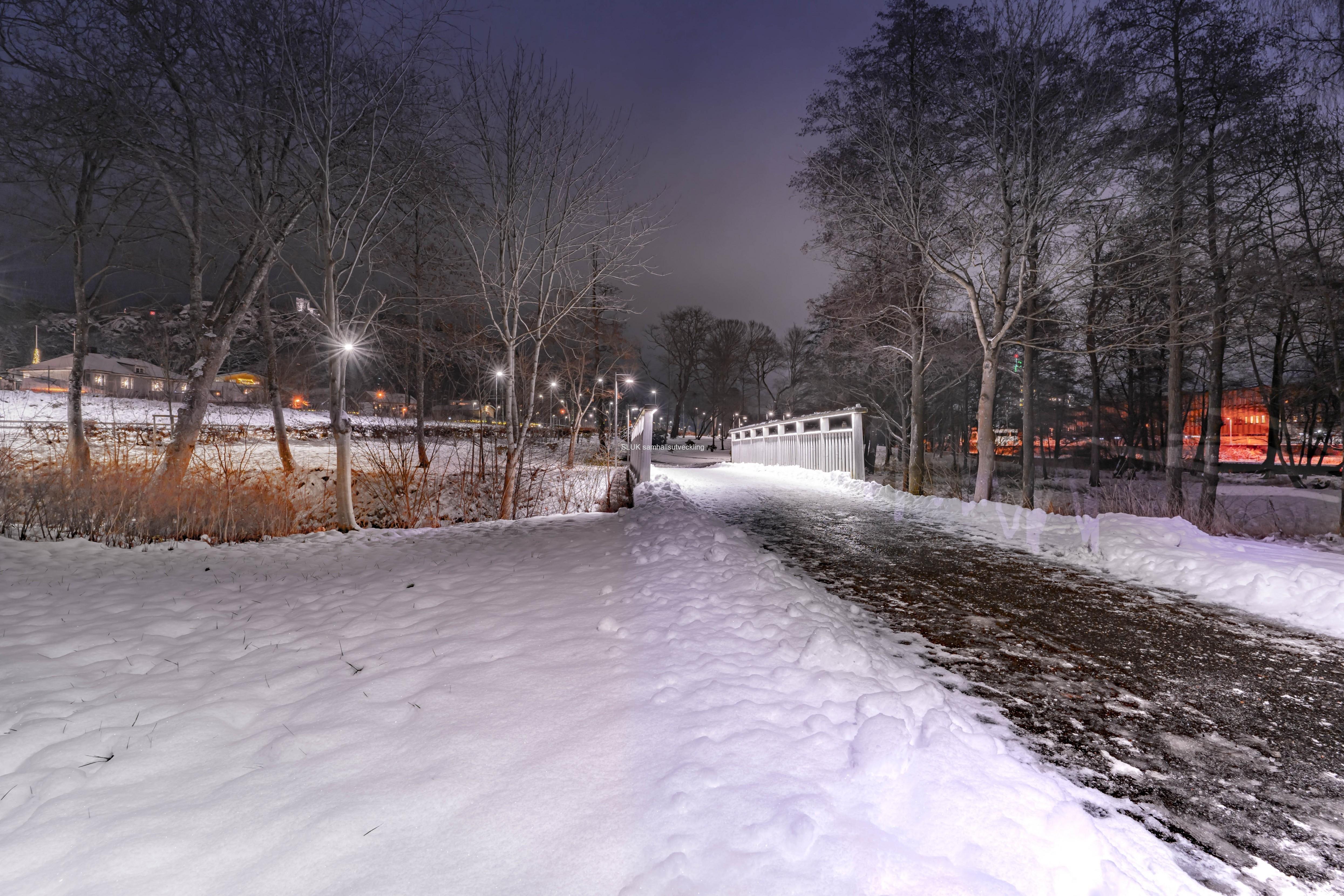 Under veckan fick vi en del snö och jag passade på att fotografera på lördag kväll i Stadsparken. Gångbron över Säveån nära stationen är belyst.