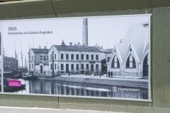 En bild från Göteborgs stadsmuseum från år 1901. Det är en vy från Södra Allègatan och ett fotografi som Trafikverket har satt upp för att visa allmänheten.